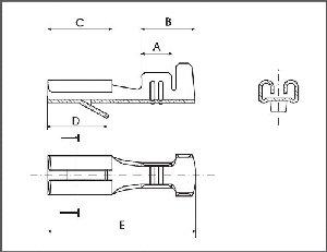 Konektor żeński nieizolowany 2,8/J1,0 z zaczepem