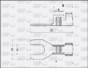 Końcówka widełkowa nieizolowana M5/2,0