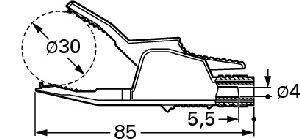 Izolowany krokodylek z gniazdem 4mm, Hirschmann AK 2 B 2540 SW (czarny), Nr. 18
