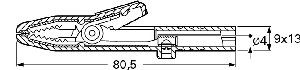 Izolowany krokodylek z gniazdem 4mm, Hirschmann AK 2 S RT (czerwony), Nr. 19A