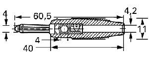 Izolowany wtyk 4mm z dodatkowym otworem 4mm, Hirschmann BUELA 30 SW (czarny), Nr. 34