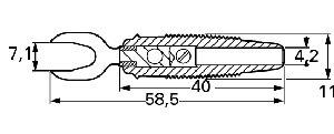 Izolowany wtyk widełkowy z dodatkowym otworem 4mm, Hirschmann KB 2 RT (czerwony), Nr. 11
