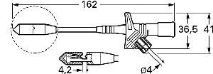 Chwytak igłowy z gniazdem 4mm, Hirschmann KLEPS 2700 RT (czerwony), Nr. 5