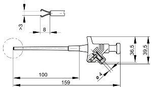 Elastyczny chwytak pazurkowy z gniazdem 4mm, Hirschmann KLEPS 30 SW (czarny), Nr. 1