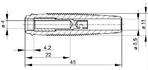 Izolowane gniazdko kablowe Ø4mm, Hirschmann KUN 30 SW (czarny)