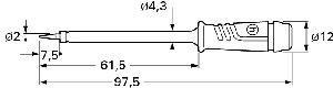 Izolowana sonda z ostrą końcówką oraz gniazdem 4mm, Hirschmann PRUEF 2 RT (czerwony), Nr. 36