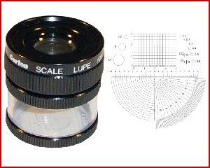 Lupa x10 stojąca z podziałką 0,1mm, model: M1210 skala 4
