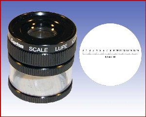 Lupa x10 stojąca z podziałką 0,1mm, model: M1210 skala 2