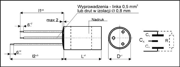 Kondensator przeciwzakłóceniowy KSPpzp-10-2, 0,1µF+2*2700pF