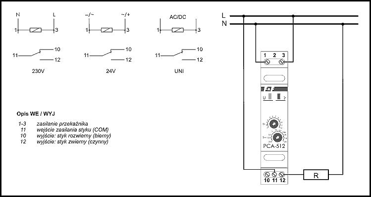 Przekaźnik czasowy OPÓŹNIONE WYŁĄCZENIE PCA-512 230V