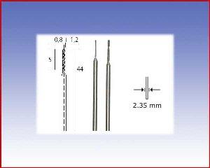 Diamentowe wiertła śrubowe, Ø0,8 i Ø1,2.