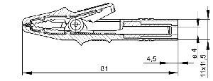 Izolowany krokodylek z gniazdem 4mm, Hirschmann AK 2 B RT (czerwony), Nr. 19
