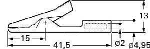 Izolowany krokodylek z gniazdem 2mm, Hirschmann MA 1 SW (czarny), Nr. 32