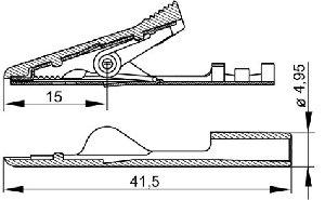Izolowany krokodylek na przewód, Hirschmann MA 1 Crimp SW (czarny), Nr. 32A