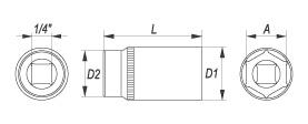 Nasadka sześciokątna, długa 1/4″ 4mm
