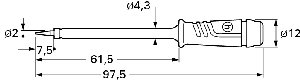 Izolowana sonda z ostrą końcówką oraz gniazdem 4mm, Hirschmann PRUEF 2 SW (czarny), Nr. 36