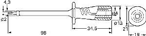 Izolowana sonda z ostrą końcówką oraz gniazdem 4mm, Hirschmann PRUEF 2600 C2 SW (czarny), Nr. 35