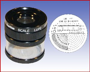 Lupa x10 stojąca z podziałką 0,1mm, model: M1210 skala 3
